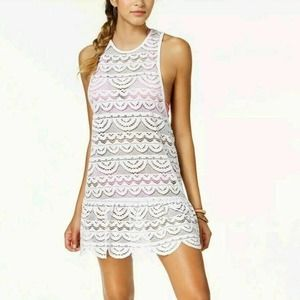 MIKEN Juniors White Crochet/Lace Cover Up NWT